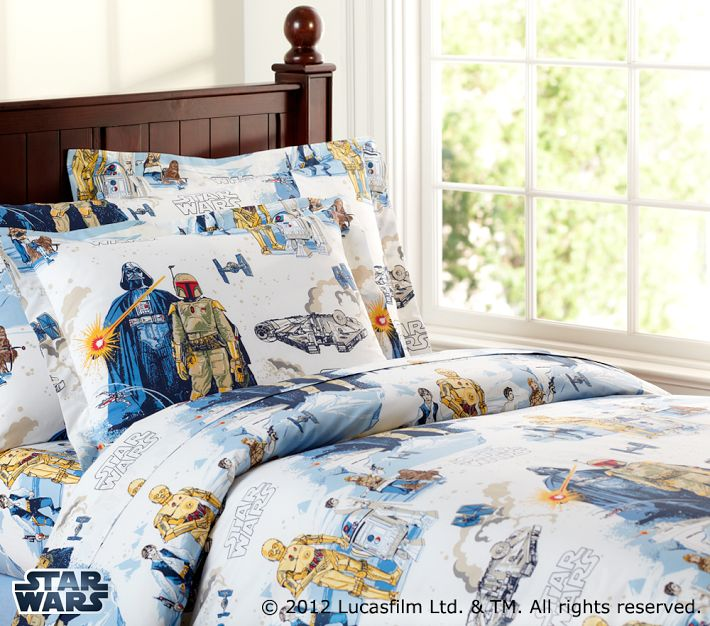 Pottery Barn Kids describes as: This soft sheeting is out-of-this-galaxy with its iconic Millennium Falcon™ design. •Made of pure cotton percale.
